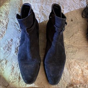 Black Suede YSL Jodphur Boots! Size 43.5 (US 10.5)